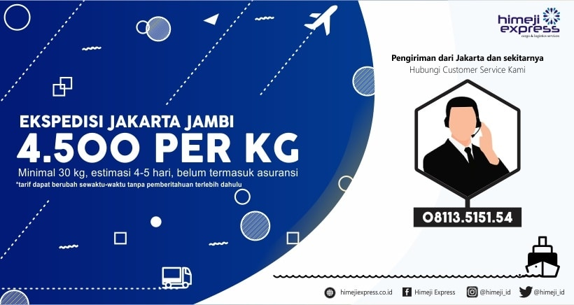 Ekspedisi Murah Jakarta tujuan Jambi dan Sekitarnya