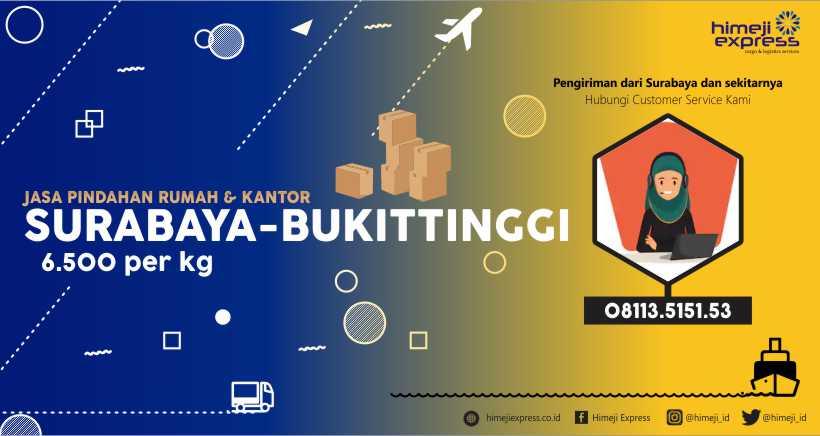 Jasa Kirim Barang Pindahan Surabaya ke Bukittinggi
