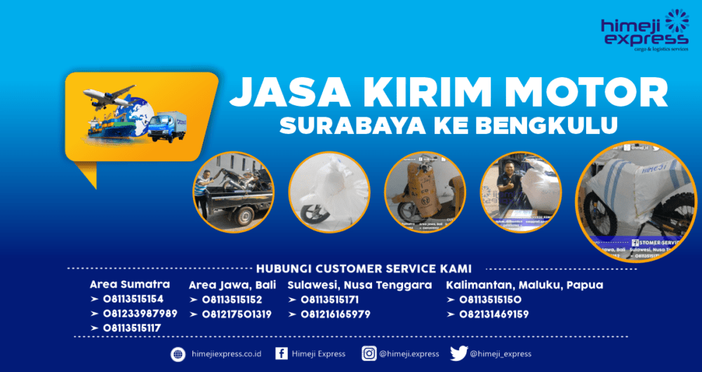 Jasa Kirim Motor Surabaya-Bengkulu Murah