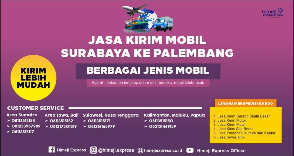 Jasa Kirim Mobil Surabaya ke Palembang