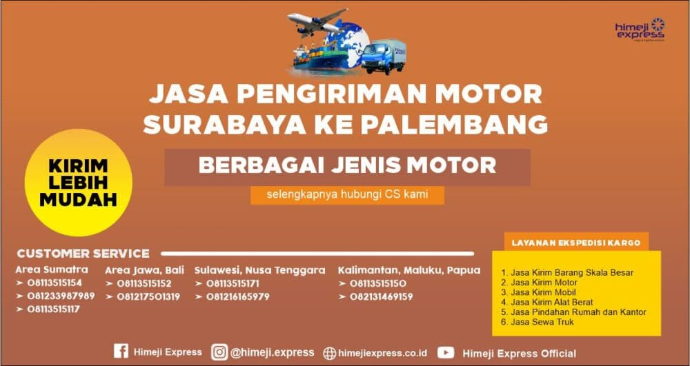 Jasa Kirim Motor dari Surabaya ke Palembang