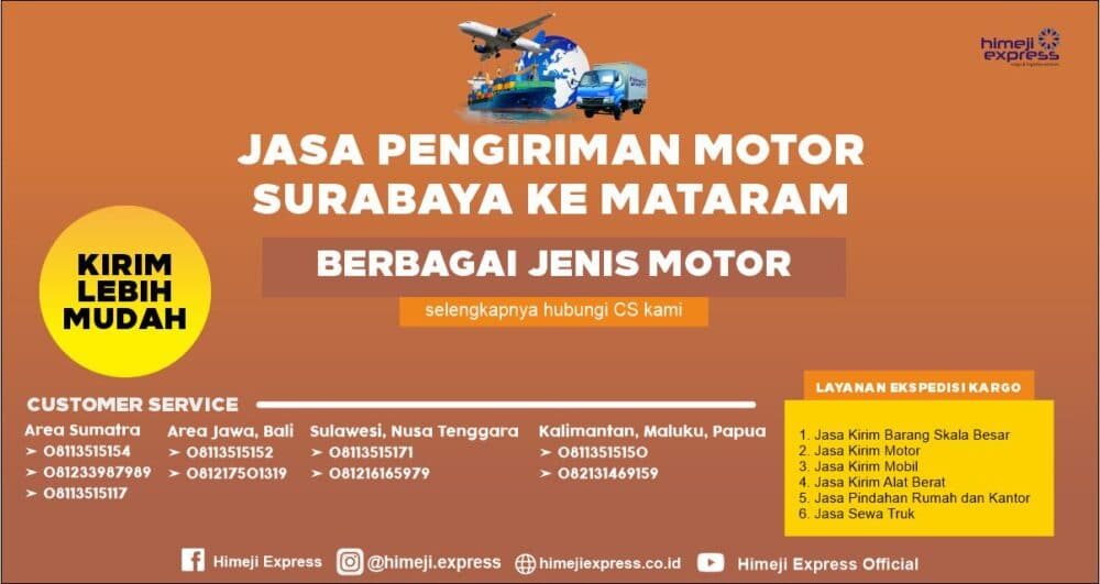 Jasa Pengiriman Motor Surabaya ke Mataram