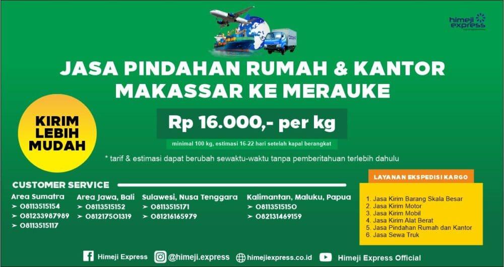 Jasa Pindahan Rumah dan Kantor Makassar ke Merauke