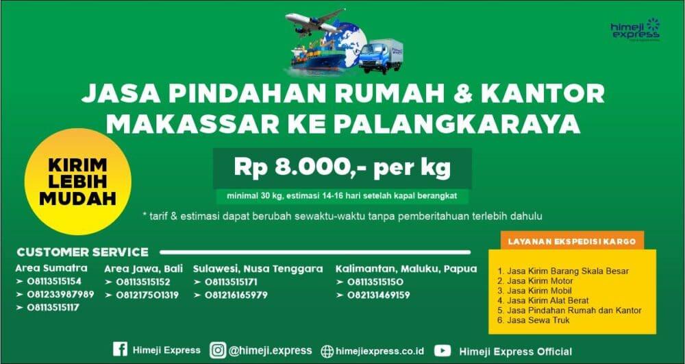 Jasa Pindahan Rumah dan Kantor Makassar ke Palangkaraya